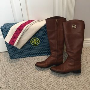 Tory Burch Junction Riding almond boots size 8